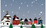 Snow falling on a cartoon christmas village 0515 0912 1115 3203 smu  landscape