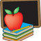 33667 clip art graphic of a red teachers apple on a stack of books by a chalkboard by maria bell small square