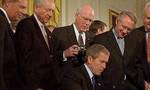 Bush signs patriot act 2001  landscape