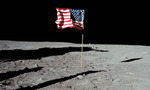 Apollo 11 us flag on moon 001 tiny landscape
