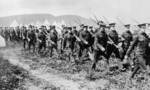 Canadian troops marching during drills at valcartier camp after the outbreak of world war i  landscape