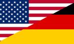Usa vs germany flags  landscape