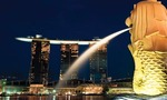 Marina bay sands view from merlion tiny landscape