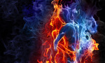 Red and blue fire background 2  landscape