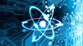 Stock footage techno background with circuit board and atom